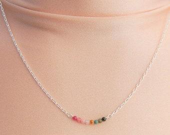 Sterling Silver Tourmaline Bar Necklace