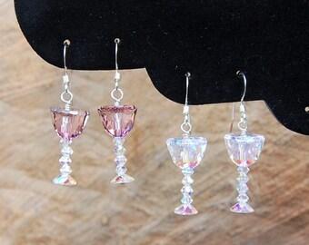 Handmade in the USA Wine Art Earrings Art Glass Earrings Wine Lover Earrings Solid 925 Sterling Silver Earrings