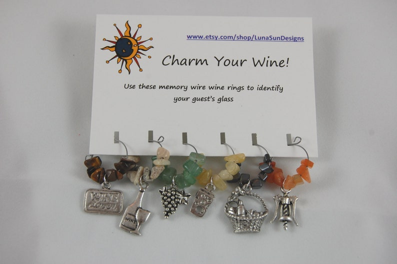 Choose from Wine lovers Wine Rings Ladybugs Cowboy or Sealife Set of 6