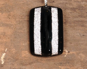Black and Silver Dichroic Fused Glass Pendant