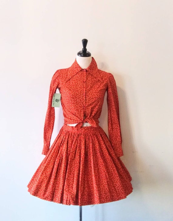 Vintage 1960s Calico Skirt and Blouse Set