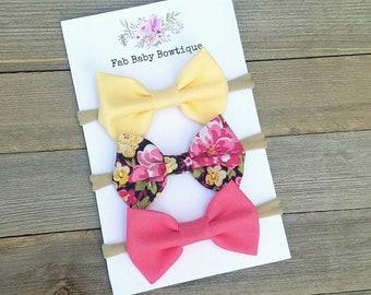 Nylon headband set - baby girl headbands - hair bow set - yellow bow - pink bow - floral bow - baby headbands - baby hair bows - bows - girl