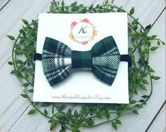 Green plaid bow, plaid nylon headband, plaid bows, baby girl headband, black plaid bow, christmas bows, holiday bows , winter bows, baby bow