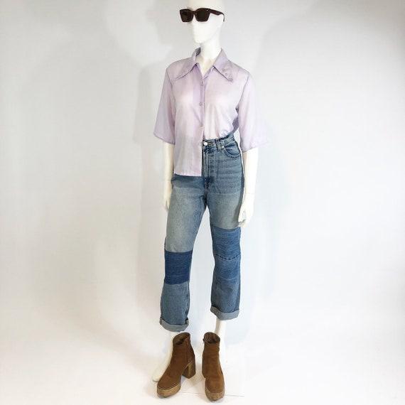 Vintage 70's Cotton Lilac Blouse with Button Deta… - image 3
