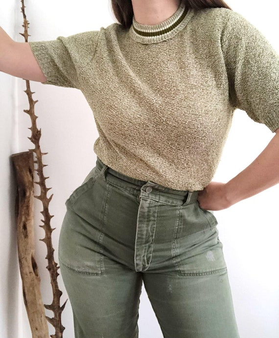 Vintage 70's Green Short Sleeve Sweater