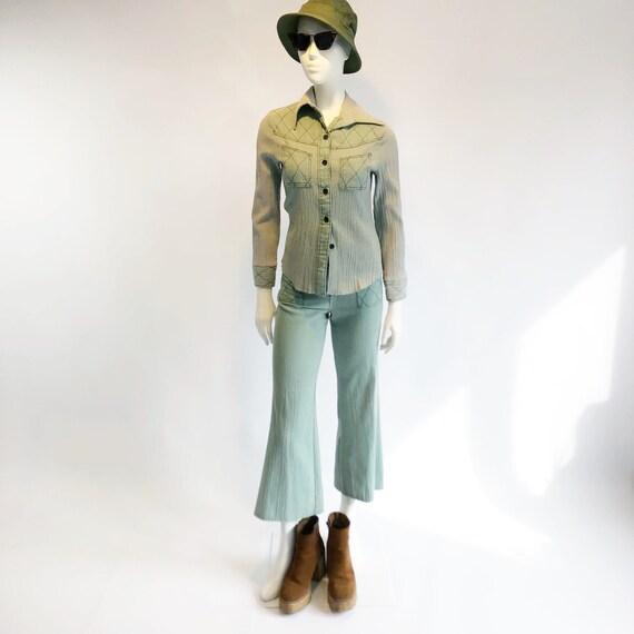 Vintage 70's 2 piece mint pant set - image 2