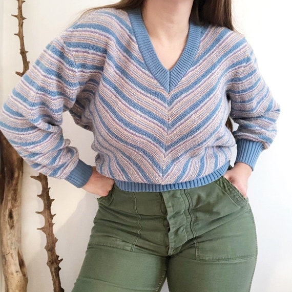 Vintage 70's Pastel Chevron Loopy Terry Sweater