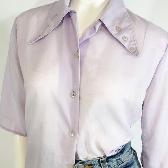 Vintage 70's Cotton Lilac Blouse with Button Deta… - image 1
