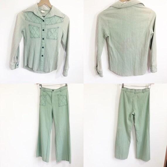 Vintage 70's 2 piece mint pant set - image 3