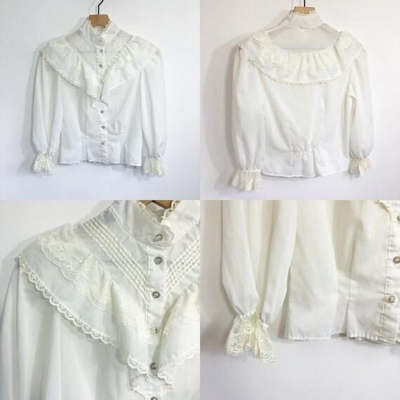 Vintage White Ruffle Blouse - image 4