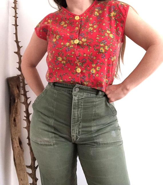 Vintage 40's-60's Red Floral Cotton Smock Shirt