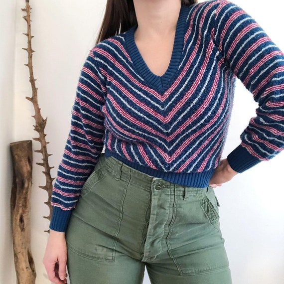 Vintage 70's Blue Chevron Loopy Terry Sweater