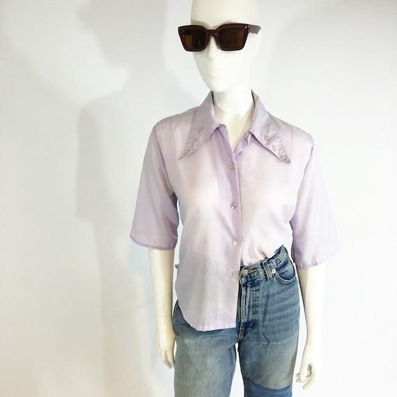 Vintage 70's Cotton Lilac Blouse with Button Deta… - image 2