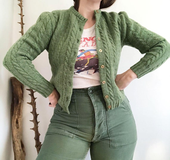 Vintage 50's (?) Green Cable Knit Handmade Granny