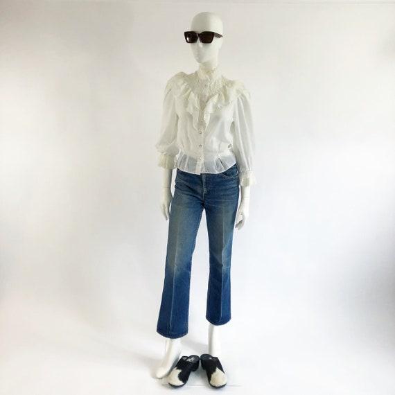 Vintage White Ruffle Blouse - image 2