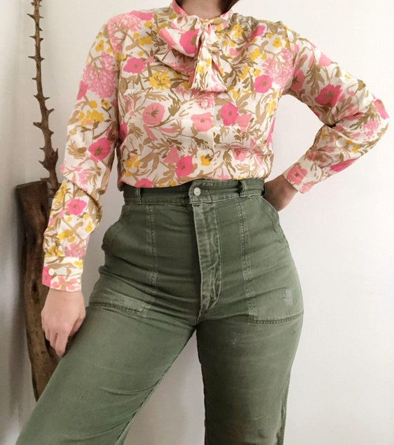 Vintage 70's Pink Floral Bow Blouse
