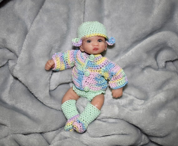 5 piece hand crafted pink  crochett dress set ~ doll clothes for reborn doll NB