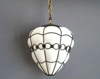 Moe Licht, Weiße Lampe, Mitte Jahrhundert Modern, Mid Century Lampe, MCM,  Schwarz Und Weiß, Drahtrahmen, Blase Licht, Käfig Licht, Retro, Vintage