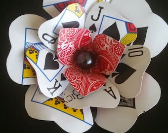 Upcycled Royal Flush Playing Card Flower: Hair-clip, boutonniere, or brooch