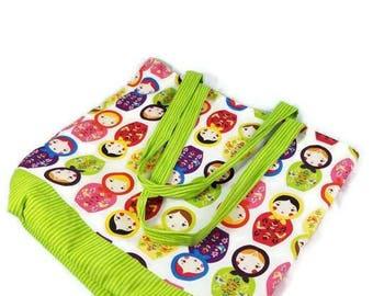 Large Handmade Tote Bag, Handmade Bag, Diaper Bag, Custom Bag, Fabric Tote, Gifts for Her, Cotton Bag, Doll Tote