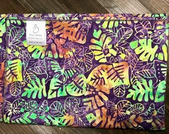 Birth Rebozo Labor Wrap | Hawaiian Multi Leaf Batik | Doulas and Educators - Affordable Wide Rebozo for birth labor support and afterwards.