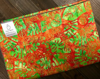 Birth Rebozo Labor Wrap | Hawaiian Green Leaf Batik | Doulas and Educators - Affordable Wide Rebozo for birth labor support and afterwards.