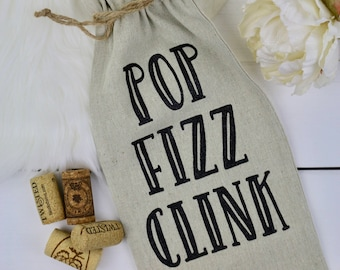 POP FIZZ CLINK | Wine Bag | Wine Tote | Gift for Wine Lover | Canvas Wine Bag | Gift for Bride | Housewarming Gift | Hostess Gift |