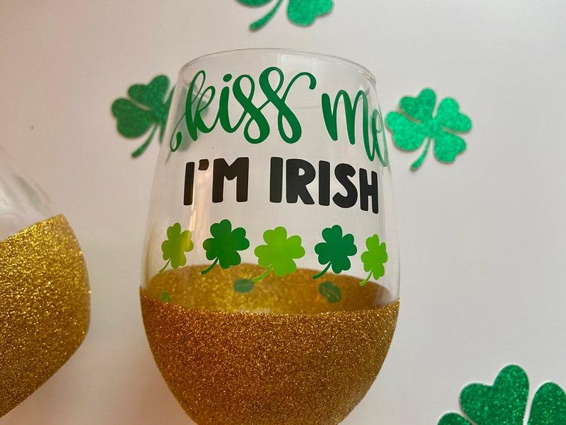 Peek A Boo Glitter Wine Glass  St Patricks Day Glass  Green image 3