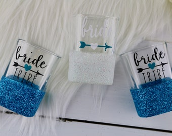 Bride Tribe Shot Glasses | Bridal Shower Gift | Bachelorette Party | Gift for BridesMaid | Bachelorette Party Shot Glasses | Bride Tribe