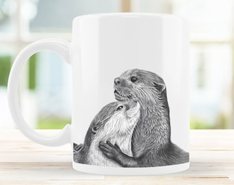 Otter Mug 10oz Ceramic Pencil Drawing Art Design, Coffee Nature Wildlife Novelty Otters Christmas Gift For Her / Him