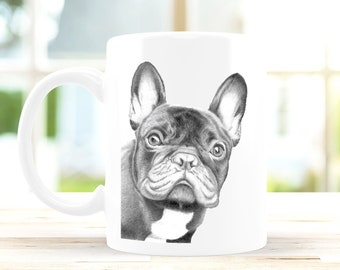 Frenchie Mug 10oz Ceramic Pencil Drawing Art Design, Coffee Nature Wildlife Novelty Gift Dog French Bulldog Christmas Gift For Her / Him