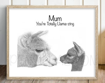 Mothers Day Gift - Personalised Present For Mum Llama Alpaca Wall Art Print Animal Nature Wildlife Custom Message Mother Son Daughter Family