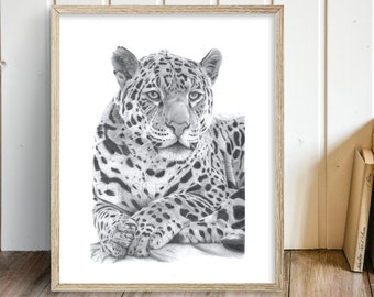 Jaguar Art Print Hand Drawn Animal Pencil Drawing A4 / A5 Nature Wildlife Wall Picture South American Big Cat Christmas Gift For Her / Him