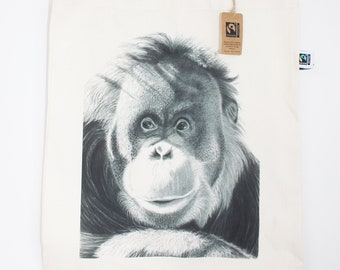 Orangutan Illustration Fairtrade & Organic 5oz Tote Bag - Eco Animal Wildlife Nature Design Drawing Art Shopping Christmas Gift For Her Him