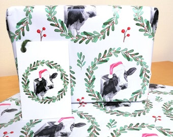 Cute Cow Design Christmas Wrapping Paper + Tags Full Sheets 50x70cm Novelty Farmyard Dairy Gift Animal Illustration Present Gift Wrap