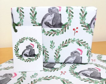 Otter Design Christmas Wrapping Paper + Tags Full Sheets 50x70cm Wildlife Novelty Otters Illustration Gift Woodland Animal Present Gift Wrap