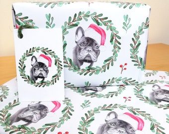 Frenchie Design Christmas Wrapping Paper + Tags Full Sheets 50x70cm  Novelty French Bulldog Illustration Gift Animal Dog Present Gift Wrap