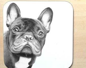 Frenchie Coaster - Pencil Drawing Art Design Novelty Table Drink Mat Dog Gift French Bulldog Design Christmas Gift For Her / Him