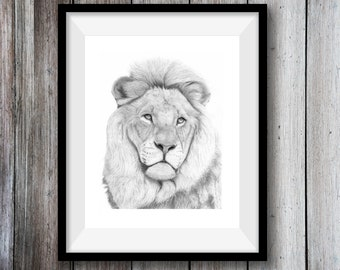 Lion Art Print Hand Drawn Animal Pencil Drawing A4 / A5 Nature Wildlife Wall Picture African Big Cat Christmas Gift For Her / Him