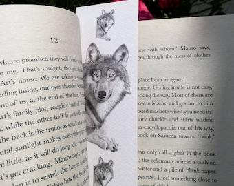 Wolf Bookmark - Animal Bookmarks - Pencil Drawing Illustration Wildlife Art Nature Books Reading Wolves Design