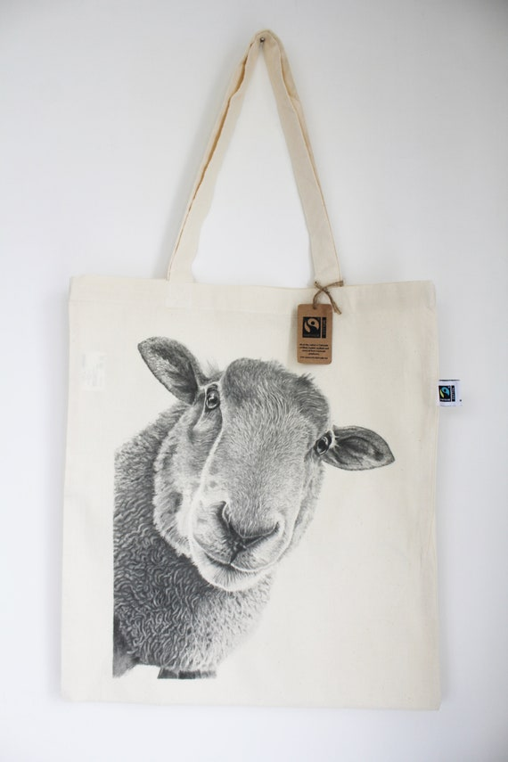 Bee Ewe Tote Knitting Project Bag Daisy Flower Canvas Animal Funny Sheep Art