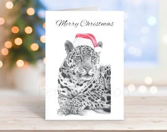 Jaguar Christmas Card, Pencil Drawing Art Greeting - Nature Wildlife Novelty Gift Can Be Personalised Big Cat Animal Custom Option