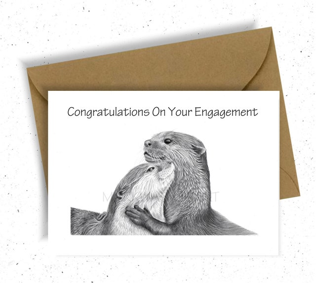Novelty greeting card cute otter engagement congratulations etsy image 0 m4hsunfo