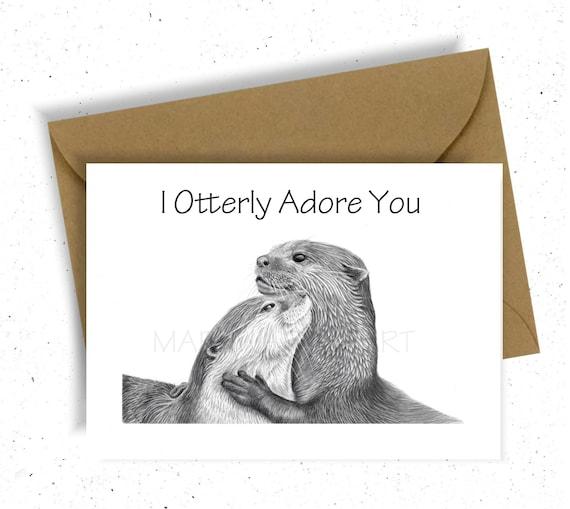 Niedliche Otter Grusskarte Alles Gute Zum Geburtstag Geburtstag Etsy