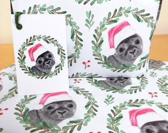 Cute Seal Design Christmas Wrapping Paper + Tags Full Sheets 50x70cm Nature Wildlife Novelty Gift Marine Animal Illustration Gift Wrap