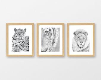 Big Cat Triptych Art Prints Set of 3 - Lion Jaguar Tiger A4 / A5 Wall Art Nursery Pictures - Pencil Drawing Nature Wildlife Illustration