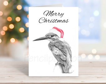 Kingfisher Christmas Card, Pencil Drawing Art Greeting - Nature Wildlife Novelty Gift Can Be Personalised Bird Animal Custom Option