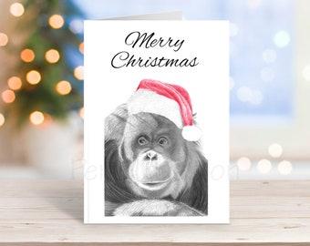 Orangutan Christmas Card, Pencil Drawing Art Greeting - Nature Wildlife Novelty Gift Can Be Personalised Primate Animal Custom Option