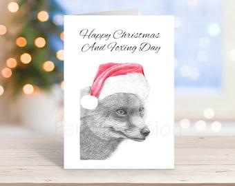 Fox Christmas Card, Pencil Drawing Art Greeting - Nature Wildlife Novelty Gift Can Be Personalised Farmyard Animal Custom Option
