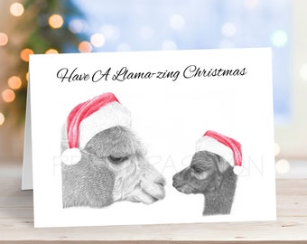 Llama Christmas Card, Pencil Drawing Art Greeting - Alpaca Nature Wildlife Novelty Gift Can Be Personalised Animal Custom Option